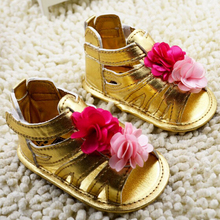 2015 Summer New For Baby Girls Sandals PU Toddler Infant Shoes With Flower Children Cotton First Walkers 0-12 Months 6Pairs/LOT(China (Mainland))