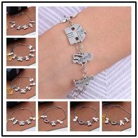 2015 19 stili di vendita calda del braccialetto di fascini unisex argento tibetano my love i membri della famiglia monili dei braccialetti del braccialetto delle donne & bangle