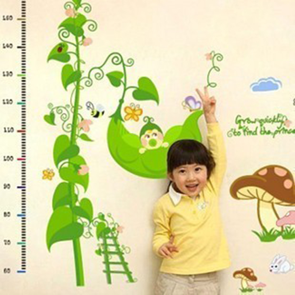 Retial Creative Design Green Peas Wall Sticker Kids Children's Room Growth Chart Height Measure Stickers Removable Wallpaper(China (Mainland))