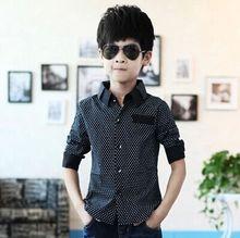 New Autumn winter Boys Formal Plain Long Sleeved Shirt Party Polka Dot Shirts 3-8Years(China (Mainland))