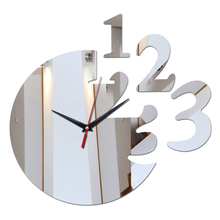 2017 new arrival home decoration acrylic mirror wall clock safe modern design large digital watch sticker(China (Mainland))