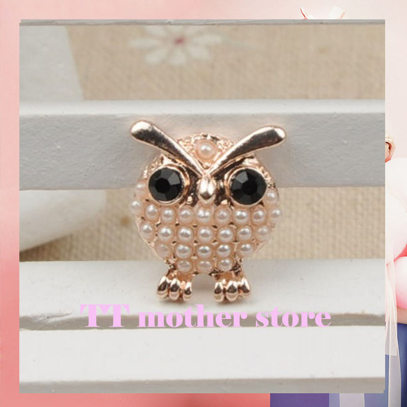 Owl Pearls Faceplate drill buckle 50pcs/lot DIY Hair accessories HAIRBANDS Hairpin hair decorations D405(China (Mainland))