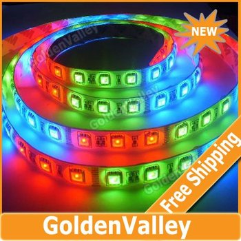 $10 off per $300 order 5M RGB Color Flash 54led/m 5050 SMD LED Strip Light Horse Race Lamp Remote Control Waterproof
