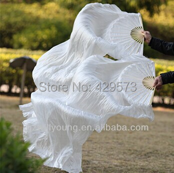 Popular colorful Bamboo long Fan Veil 100% real silk belly dance Fans Veils Hot-selling(China (Mainland))
