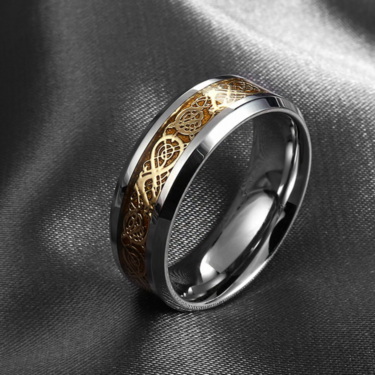 valentine's day Fine jewelry Dragon 316L stainless steel Ring high quality Mens Jewelry Wedding Band