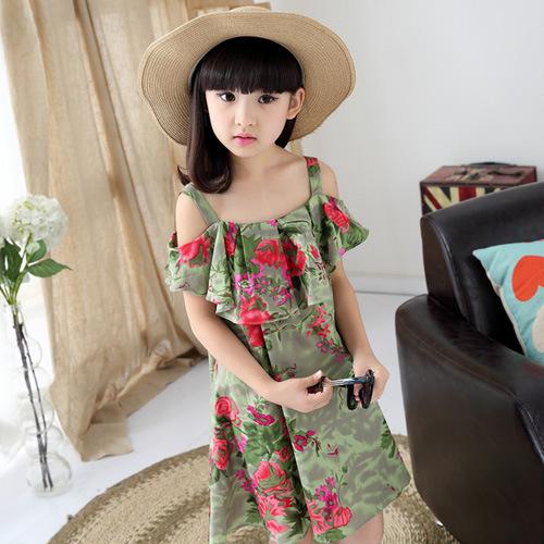 2016 Teen big girl dress dresses green new summer fashion floral casual dress cute sweet pretty lovely girl dress for teenage