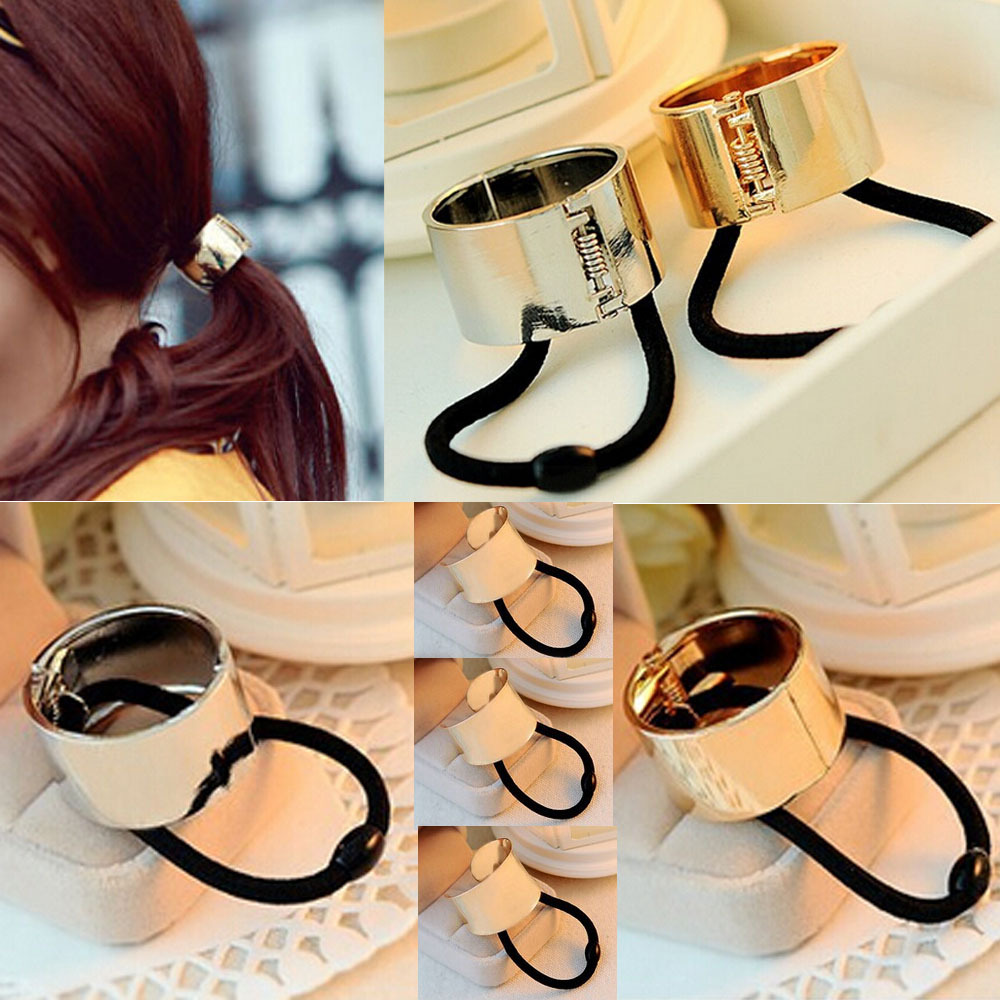 Punk Rock Cool Chic Catwalk Hair Cuff Wrap Pony Tail Band Metal Ponytail Holder Ring Mirror Tie Stretch Rope - Enjoy Sweet Life store