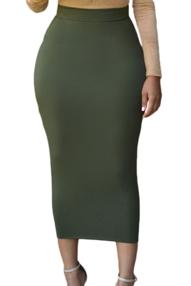 Solid-Green-High-waisted-Bodycon-Maxi-Skirt-LC71188-3-1