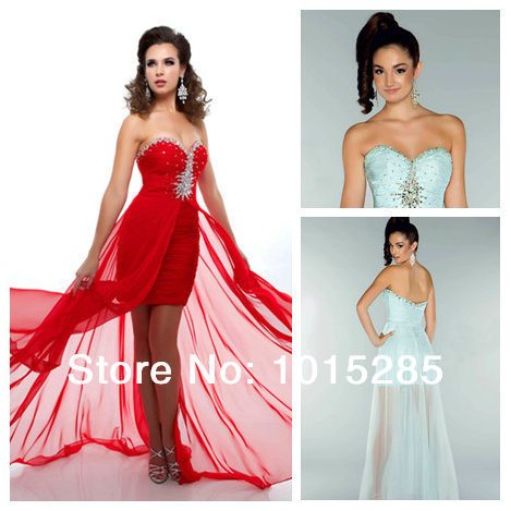 Sweetheart Neckline Long Red Mint Chiffon Prom Dresses Spcial ...