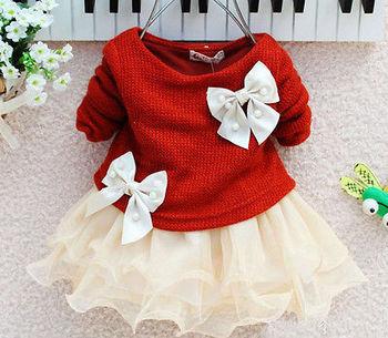 Детские Девушки Осень Весна Длинным Рукавом Вязаный С Луком Младенцы Новорожденных Розовый Пачка Платье Принцессы Ребенка Платье
