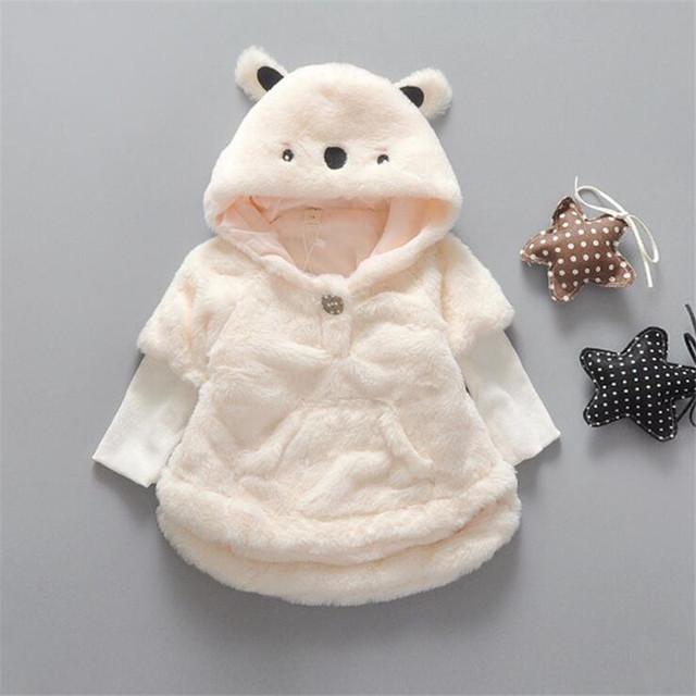 Высокое качество девочка пальто мода мультфильм животных формы с капюшоном верхняя одежда подходит осень и зима толстые одежда для новорожденных