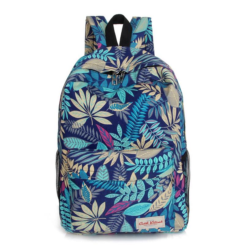 2015 Hot men and women printing leaves backpacks mochila rucksack fashion canvas bag retro casual school bag travel bag YA80-177(China (Mainland))