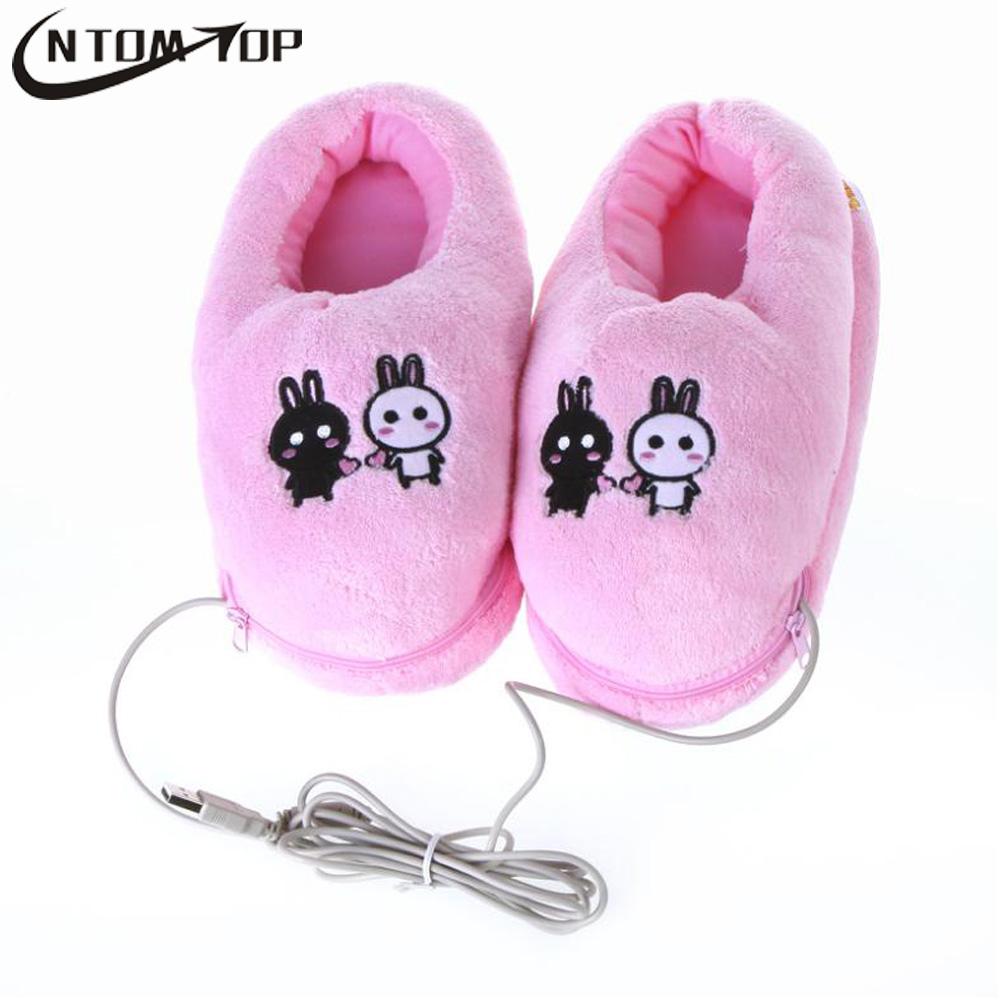 Plush USB Foot Warmer Shoes Soft Electric Heating Slipper Cute Rabbits Pink(China (Mainland))