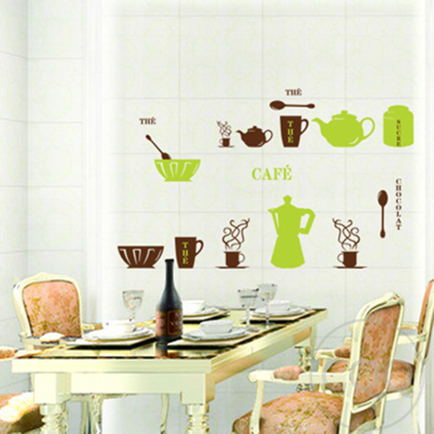 Meubles pour cuisine cafeti re d coration wall sticker for Sticker mural cuisine