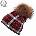 2016 new real mink knitted hat wool rabbit fur hat for women girls winter hat red