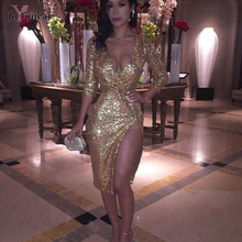 Buy New arrival sexy Deep V-neck long sleeve mid-calf dress clubwear high gold sequin dress popular sexy split women dress for $21.94 in AliExpress store