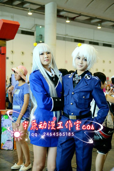 Axis Powers Cosplay APH Hetalia Prussia Military uniform Costume Anime - Size