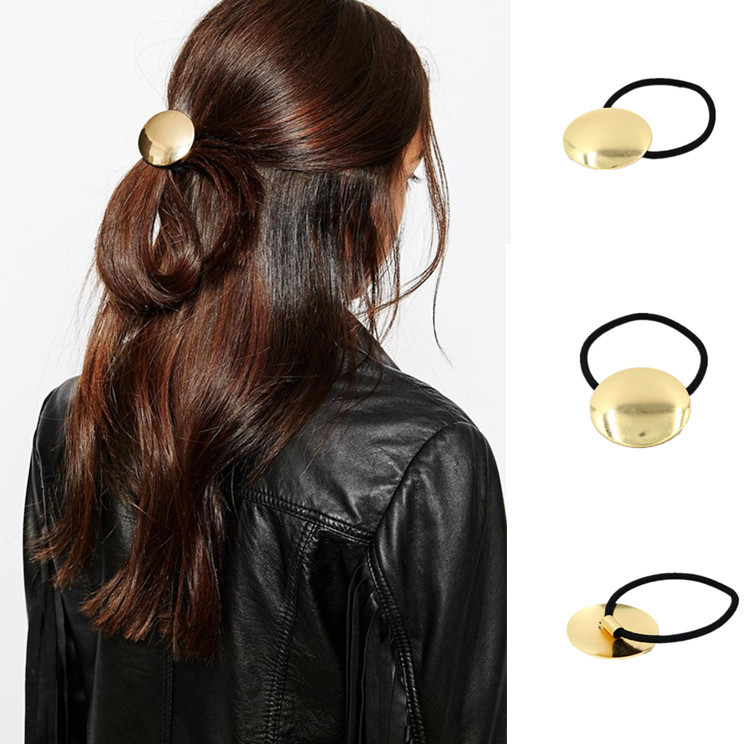 Elastic hair bands with golden metal glazed circle women hair font b accessories b font for