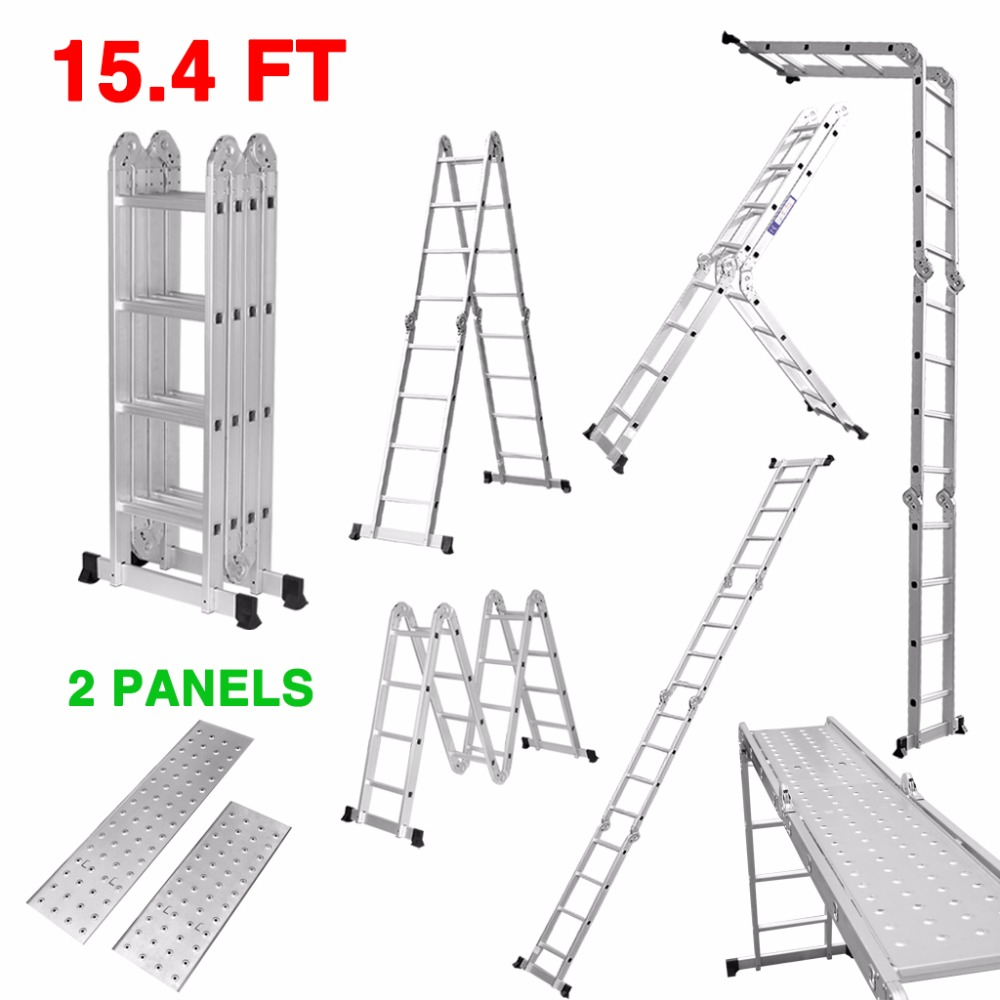 15.4 FT Multi-Purpose Extendable Aluminum Alloy Folding Ladder with Safety Locking Hinges and 2 Panels with 4 Folds 16 Rungs(China (Mainland))