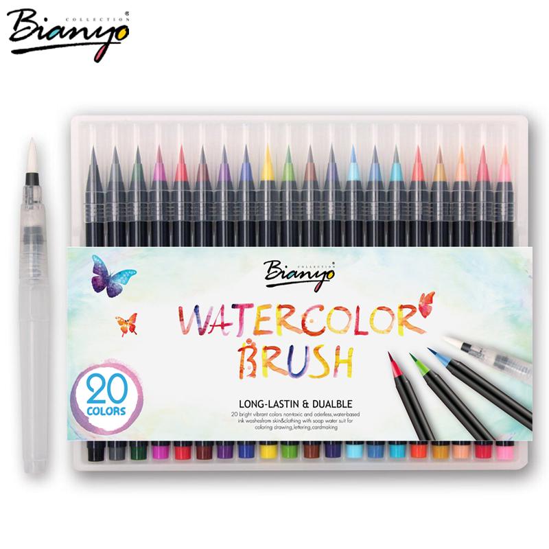 Bianyo 20 Colors Premium Painting Brush Pens Set Soft Flexible Tip ...
