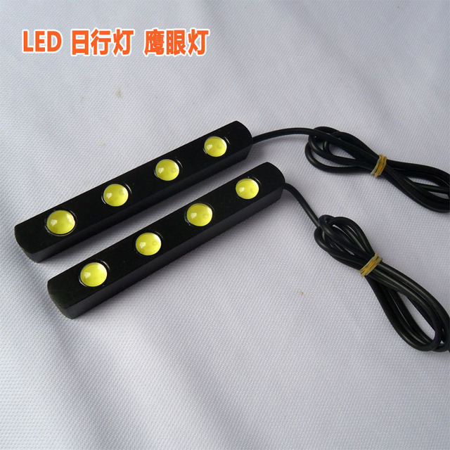 12V 12W 4 LED White Waterproof Car Day Time Driving Running Light Lamp New Free Shipping