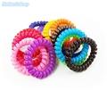12pcs lot 5 5cm Girls Fashion Hair Ropes Telephone Line Circle Phone Rings Ponytail Holder Bracelets