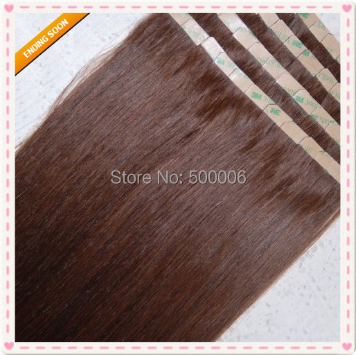 Фотография 7A grade indian remy tape hair PU skin weft hair extensions 100g/40pcs #33 100% human hair DHL free shiping