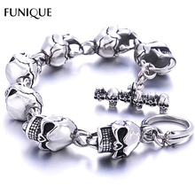 Buy FUNIQUE Men Charm Bracelet 316L Stainless Steel Skulls Gothic Punk Bangle Bracelet Boyfriend & Girlfriend Jewelry Gift 22cm for $9.99 in AliExpress store
