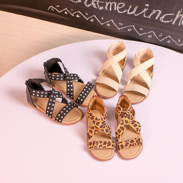 T2016 летние новых детская обувь крест ремень сандалии девочек сандалии простые мода зерна леопарда упругой пункт сандалии 21 - 30
