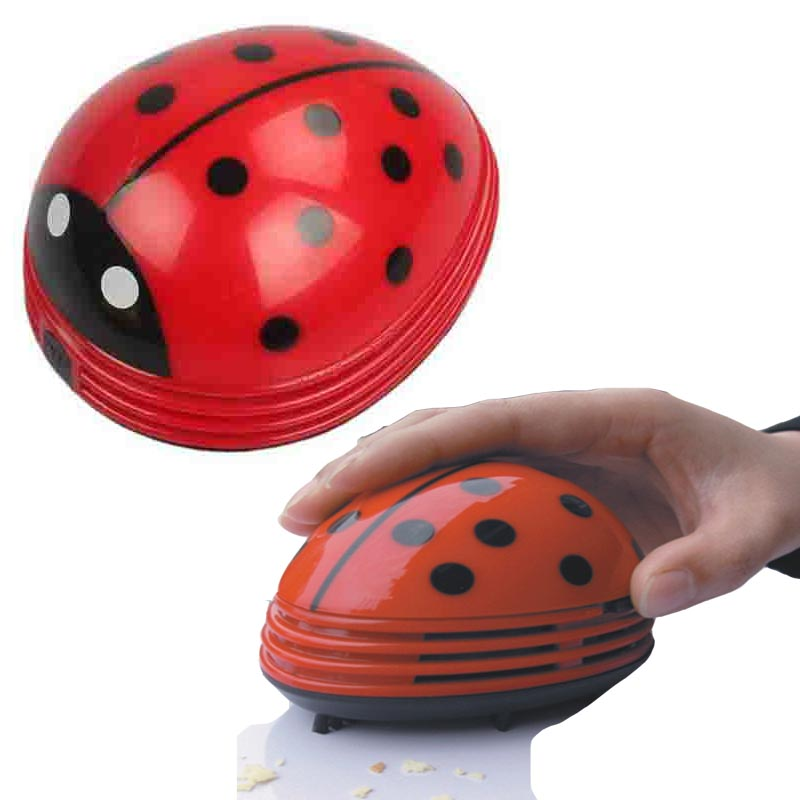 Portable mini vacuum cleaner Cute Beetle Ladybug cartoon Mini Desktop Vacuum cleaner Desk Dust Cleaner collector for home office(China (Mainland))