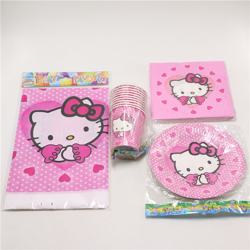 41pcs/lot Kids Girls Baby Birthday Decoration Hello Kitty Theme Disposable Party Set paper cup napkins plastic table cover(China (Mainland))