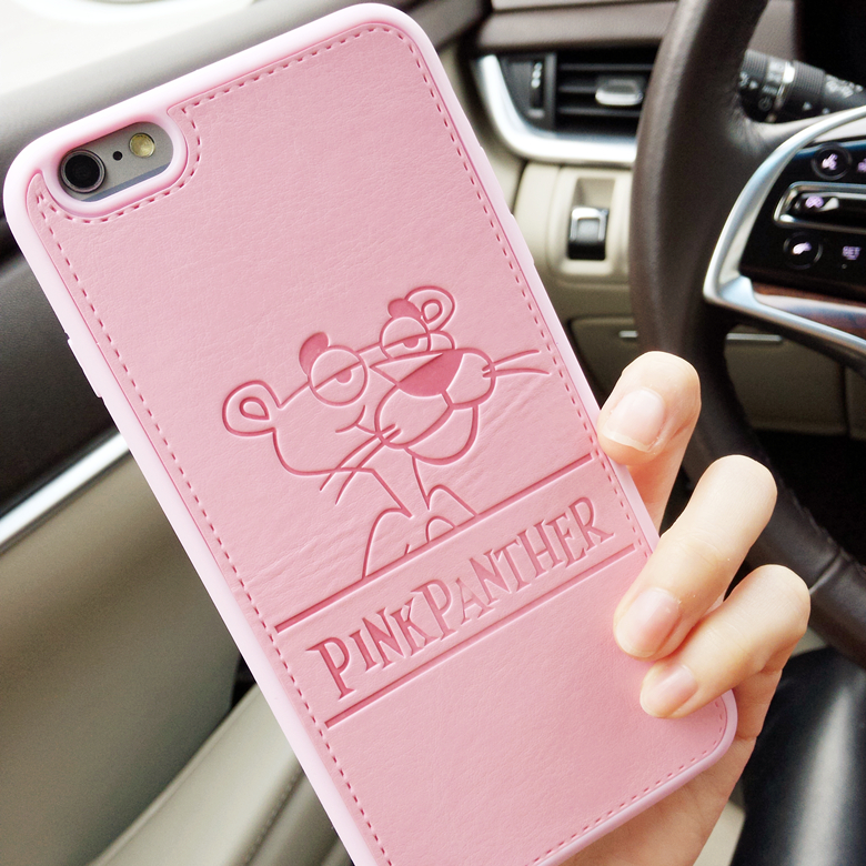 Pu leather Panthera pink panther Cases iPhone 7 7plus 6 6s 6plus 6splus 4.7inch softpink Hard Shell covers Free