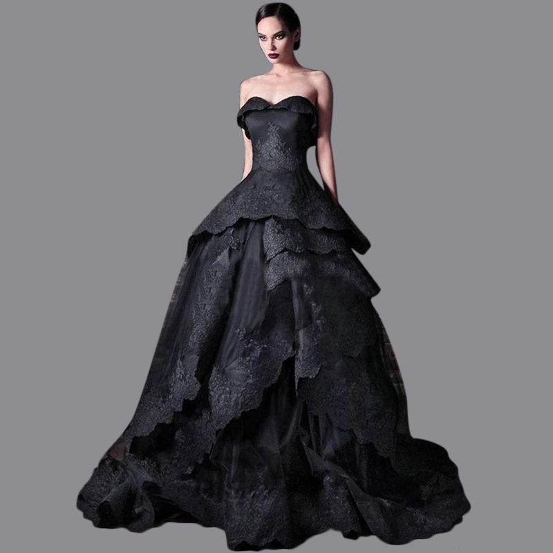Black Wedding Dress With Train : Gown bridal dresses puffy sweetheart wedding sweep train black