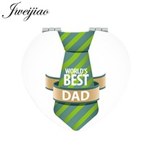 JWEIJIAO Mini Pocket SUPER PAPA Hand Mirror 1X/2X Magnifying have a yery in fahters' day picture DIY Gift Heart Mirrors FQ875(China)