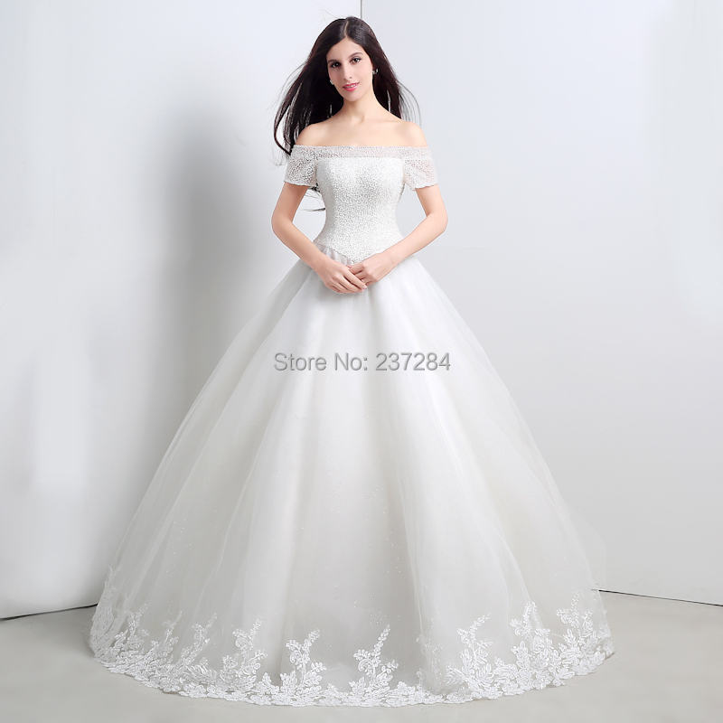 Crystal beaded off the shoulder short sleeves ball gown for Short elegant wedding dresses