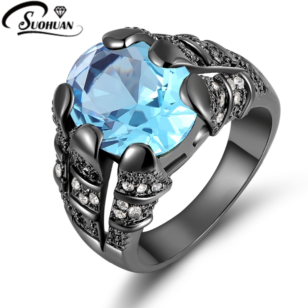 2015 New Fashion Jewelry Size 8 9 10 11 12 Aquamarine sapphire ring 10KT Black Rhodium plated Rings for mens Gift R020<br><br>Aliexpress