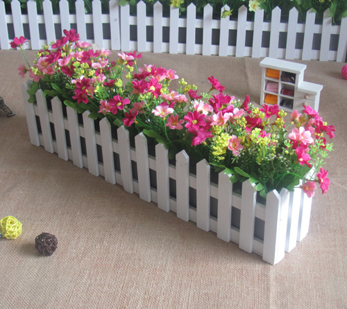 The simulation flowerArtificial flowers 50cm wooden fence flower suit the living room windowsill placed artificial flowers silk(China (Mainland))