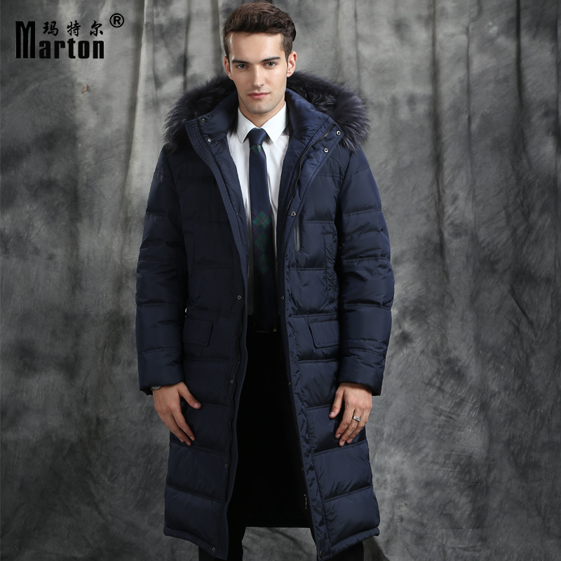 Business Male down jacket coat long design over-the-knee raccoon fur winter white goose thickening mensouterwear overcoat slim Одежда и ак�е��уары<br><br><br>Aliexpress