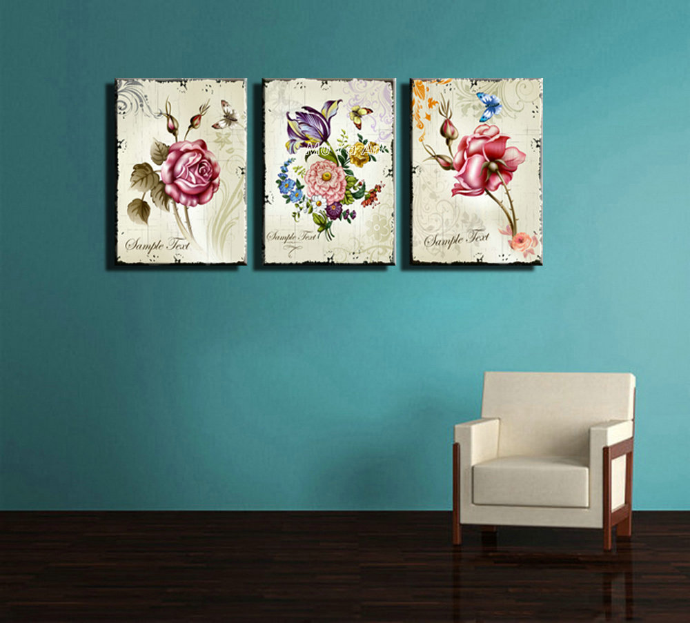 3 Piece Canvas Prints Modern Girly Flower Painting Set Supplier Printed Rose Art Wall Picture