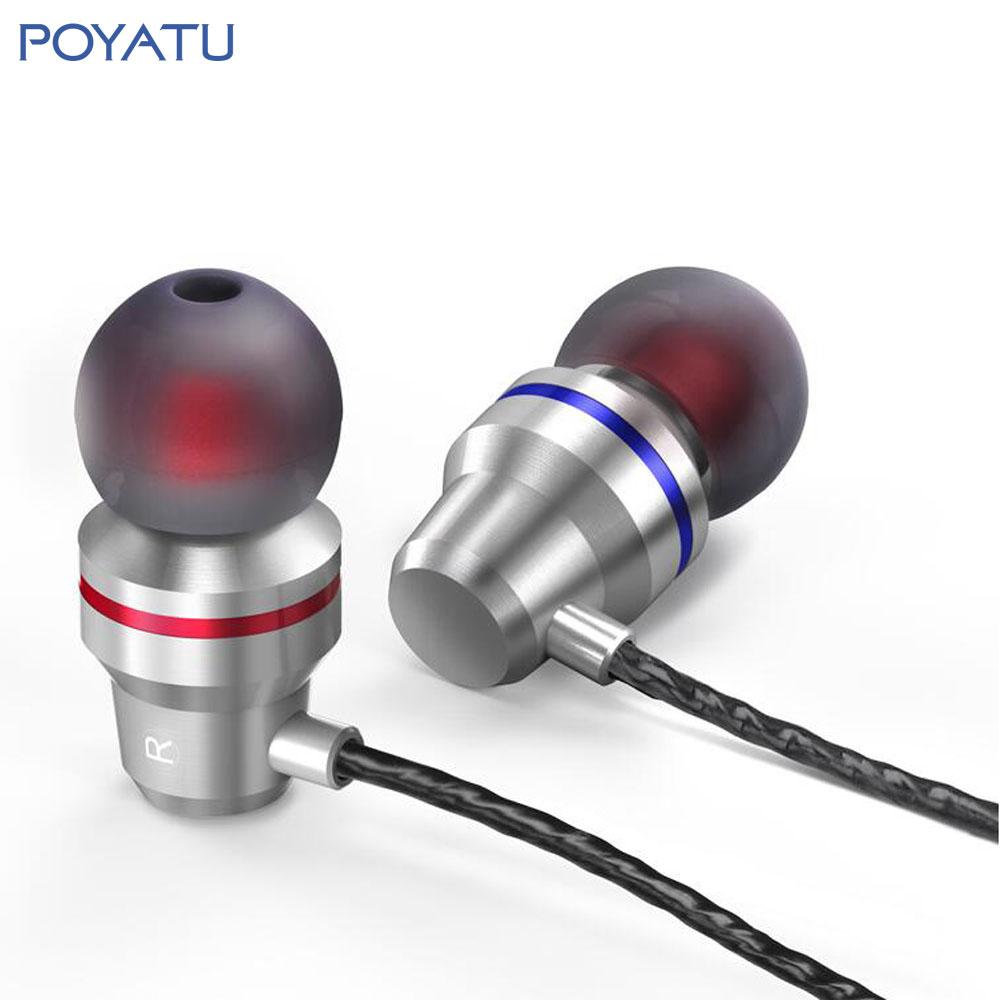 POYATU Earphone Metal Headsets For Xiaomi Earphones DJ Studio Headset With Mic Stereo Hifi Super Bass Earbuds for iPhone Samsung(China (Mainland))