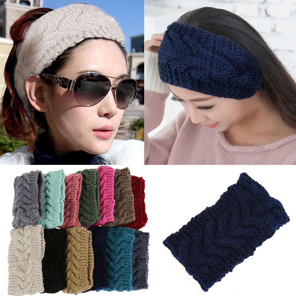 New Winter Beauty Fashion 13 Colors Flower Crochet Knit Knitted Headwrap Headband Ear Warmer Hair Muffs Band(China (Mainland))