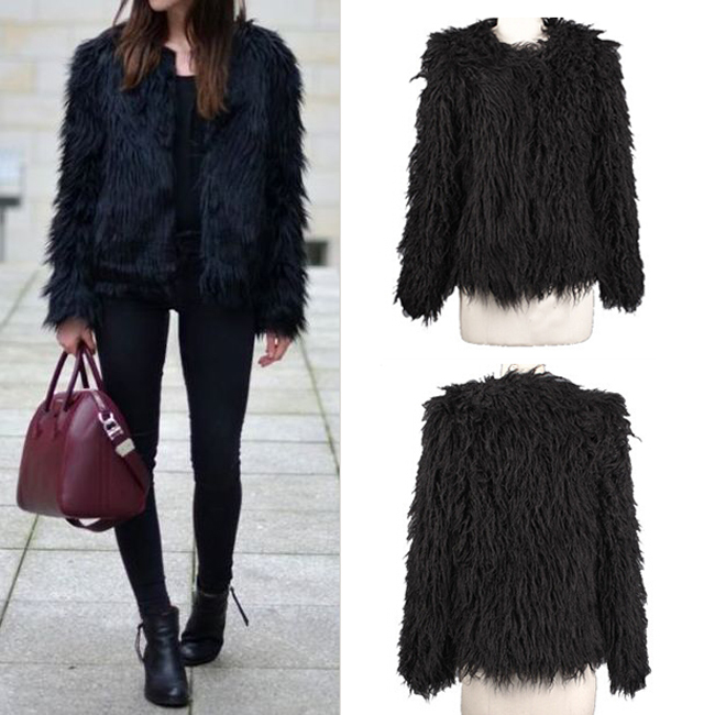 Womens Black Faux Fur Coat | Fashion Women's Coat 2017