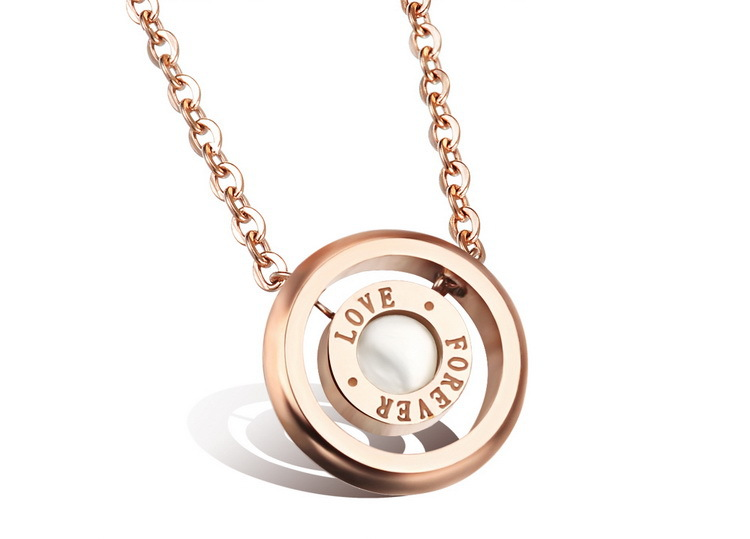 Fashion Forever Love Woman Pendant Necklaces Romantic Pure White Shell Rose Gold Plated Women Jewelry Full Steel Link Chain(China (Mainland))