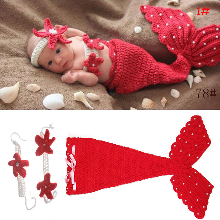 Free delivery lovely Mermaid newborn photography props manual knitting wool clothing baby child Mermaid Princess 3pcs suit(China (Mainland))