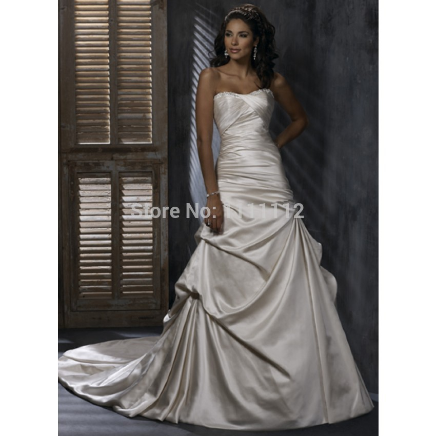 Nitree a line strapless ruching crystal chapel train for Silver satin wedding dress