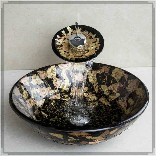 3 Hole Vessel Sink : three holes Hand Paint Color Bathroom Tempered Glass Vessel Sink ...