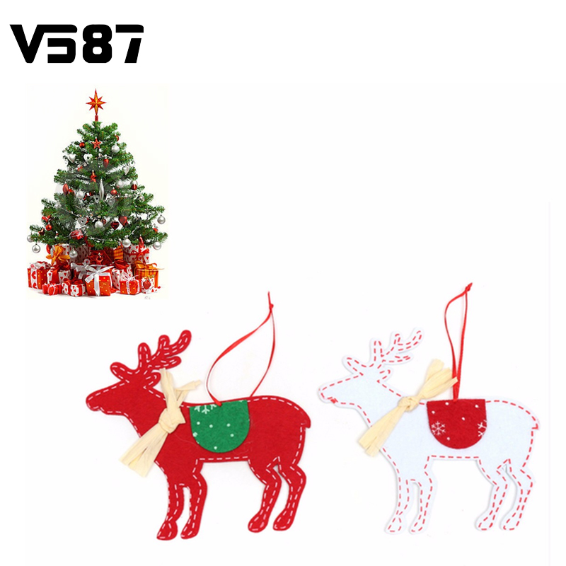 2Pcs Christmas Tree Ornaments Non-woven Deer Elk With Ribbon Hanging Pieces Christmas Decorative Supplies Wholesale(China (Mainland))