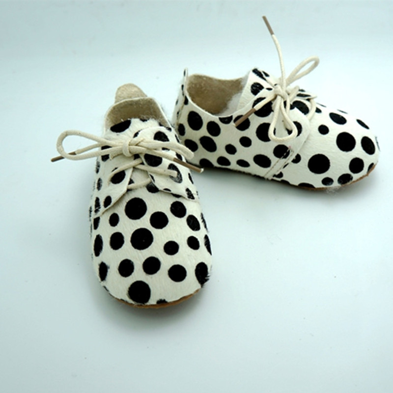 New dot Leopard Genuine Leather Horse hair shoes handmade Baby Moccasins Bebe newborn Non-slip Soft bottom shoes First Walkers(China (Mainland))