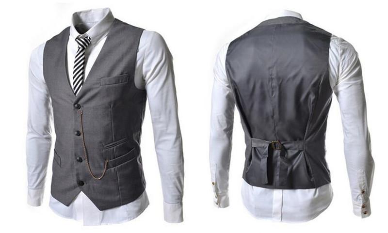 Gentleman Slim Fit Vest Spring Waistcoat Business Vest Men Casual Mens Vests Stylish Waist coat Hot Suit Vest Drop Shipping
