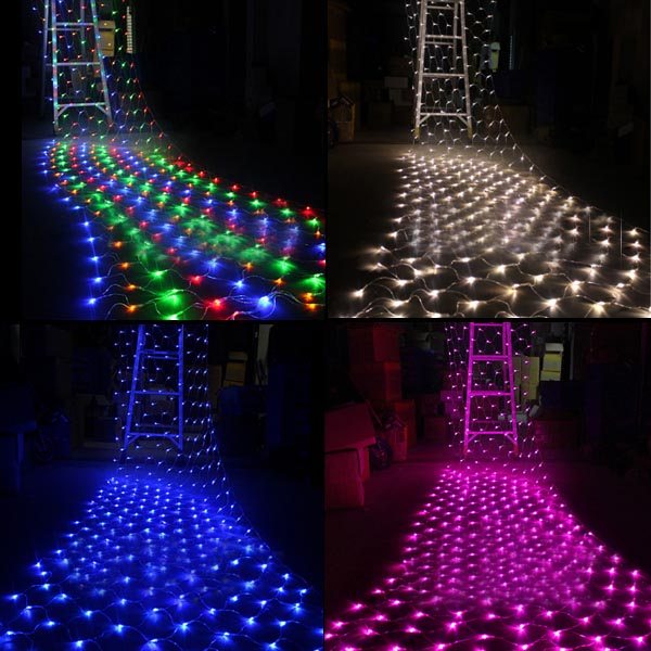 Hot Sale Multicolor 1.5M x 1.5M 100 LED Net String Fairy Light Xmas Christmas Wedding Party Holiday Outdoor Decoration Lamp 110V(China (Mainland))